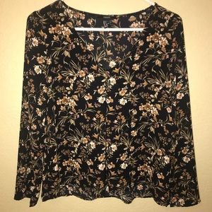 Forever 21 Black Floral Blouse