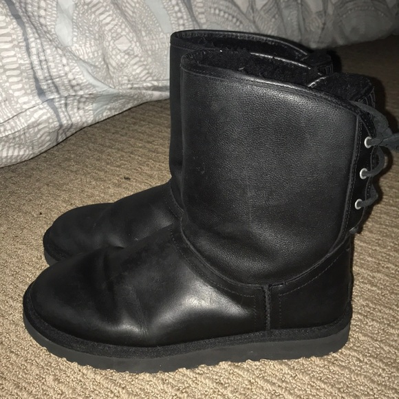 8996bf9c14a Black Leather Ugg Boots with lace up back