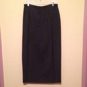 Talbots dark gray pinstripe long wool pencil skirt
