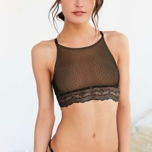 Out From Under Mesh Dot Lace Trim Halter Bra