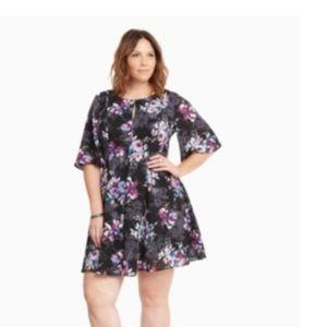 Floral Print Georgette Flutter Sleeve Dress