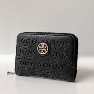 Tory Burch Black Robinson Wallet Small Zip RARE