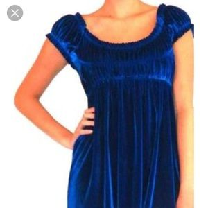 Free People blue velvet short ruffle sleeve dress