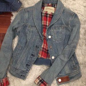 Anthropologie Jean jacket w plaid flannel interior