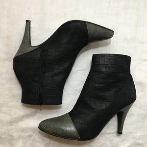 JEFFREY CAMPBELL Black Croc Leather Bootie Sz 7.5