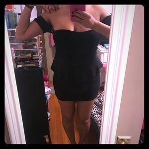 Black peplum little black dress