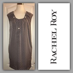 Macy's Rachel Roy Taupe Dress with Black Ties