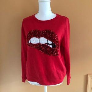 H&M Sequin mouth red sweater size Medium