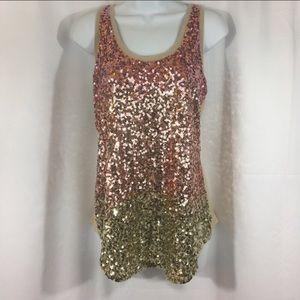 Express size Medium Rose Gold Sequin Top