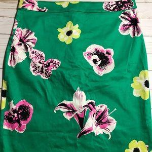 J. Crew Punk Floral Green Pencil Skirt - 6