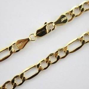 """Solid Gold Figaro Mens 24"""" Chain Necklace NEW"""
