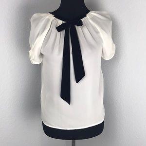 Joie Ivory Silk Short Sleeve Velvet Bow Blouse
