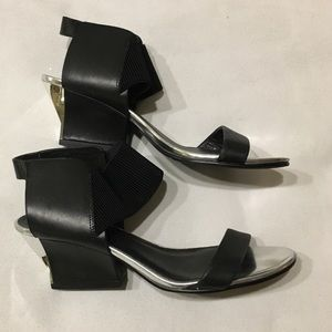 United nude black and silver block wedge heels 40