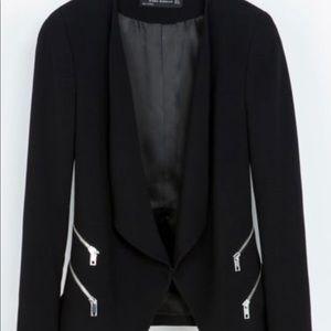 Womens Zara Black Blazer with Silver zippers SizeM