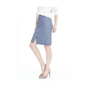 Banana Republic Wool Flannel Blue Pencil Skirt