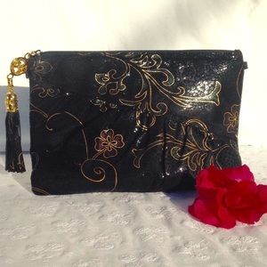 Bags By Pinky Leather Embossed Clutch