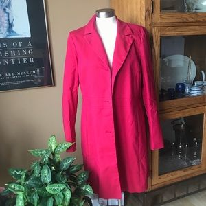 Halogen long red trench jacket