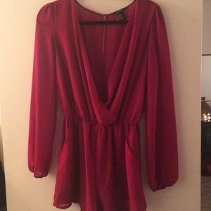 Burgundy long sleeve romper