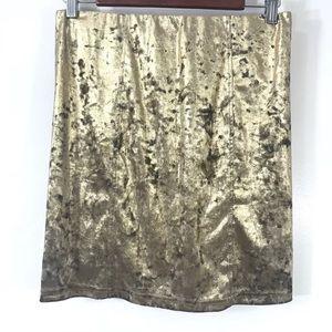 TopShop Gold crushes velvet mini skirt
