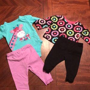 Girls Lot - 2 Long Sleeve Shirts & 2 Pants 💕
