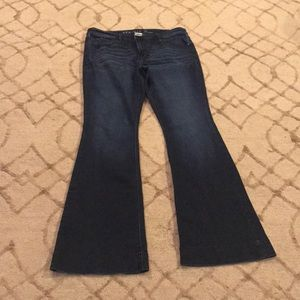 Stretch flare dark denim jeans