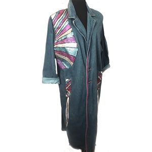 Vintage hand painted and signed denim jacket coat