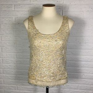 Vintage XS Cream Completely Sequin Tank New Years