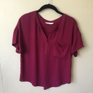 Lush • Wine Red • Sheer Short-Sleeve Blouse