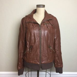 Urban Outfitter faux leather hooded bomber jacket