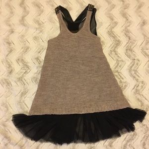 Free People Sleeveless beige black wool silk dress