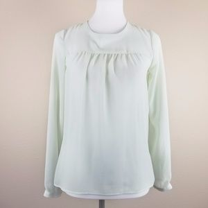 Zara Woman Sheer Long Sleeves Light Green Blouse