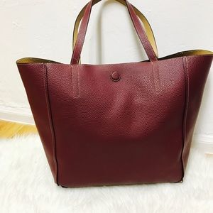 New wine red & brown tan reversible tote