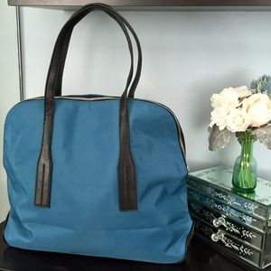 Teal / Black Zip Top Tote / Laptop Bag