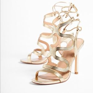 Metallic Swirl caged Heeled Sandal
