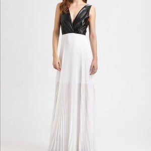 Alice + Olivia Luna leather pleated maxi dress NWT