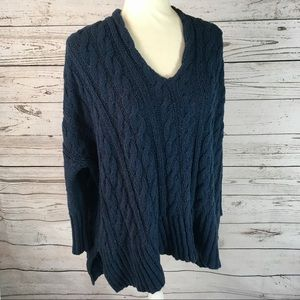 Free People Easy V cable knit oversized sweater