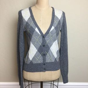 J. Crew wool/cashmere argyle cardigan sweater