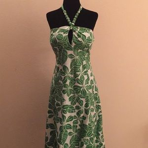 Tropical halter dress with tied beaded straps