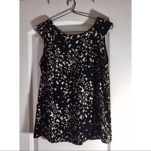 Black Tunic with White Buttertfly Pattern