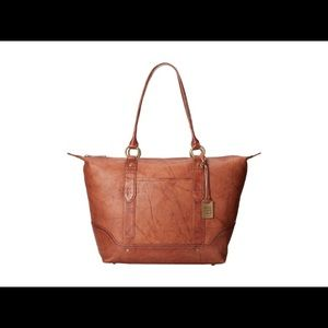NWOT $398 Frye Campus Zip Leather Tote in saddle