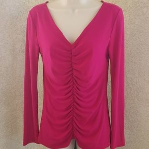 Narciso Rodriguez vneck ruched long sleeve blouse