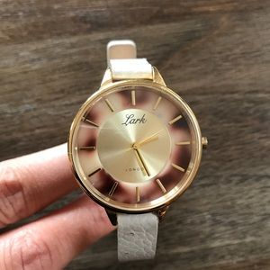 Anthropologie Lark leather watch light gray