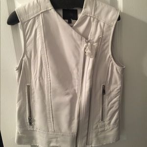 NWT Banana Republic White Leather Vest Size XS