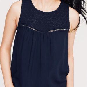 NWT Black Sleeveless Lace-Yoke Top Size Medium