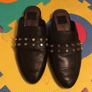 Dolce Vita black leather studded mules