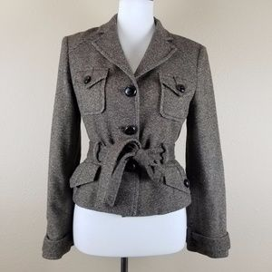 BCBG Maxazria Belted Tweed Jacket With Elbow Patch