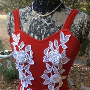 Vintage Holiday Red Velour White Floral 8-10