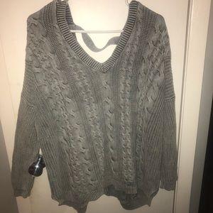 V neck grey sweater