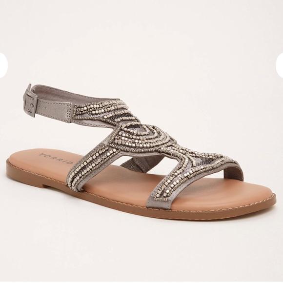 ea675006973 Torrid Wide Silver Beaded Gladiator T Strap Sandal