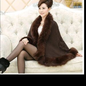 Black or white or brown scarf thick fur cape shawl